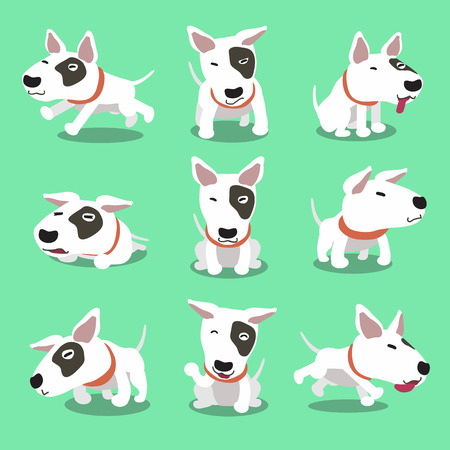 dog sleeping: Cartoon character bull terrier dog poses Illustration