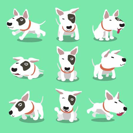 Karakter cartoon bull terrier hond poses
