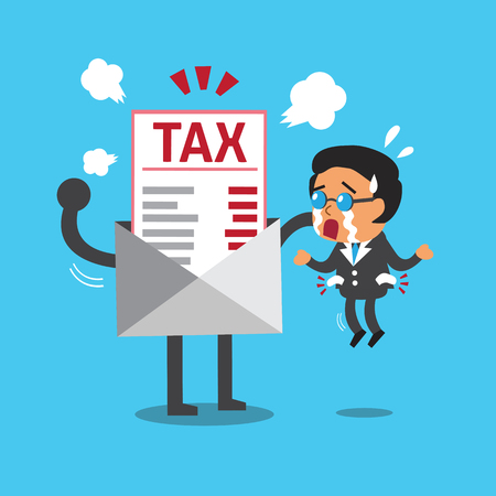 Cartoon businessman does not have money to pay tax Illustration