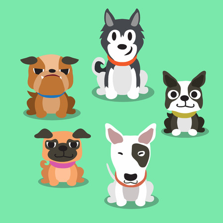 boston terrier: Cartoon dogs standing Illustration