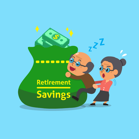retirement savings: Cartoon old man and old woman with retirement savings bag