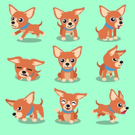 dog running: Personaje de dibujos animados de chihuahua marrón poses para perros