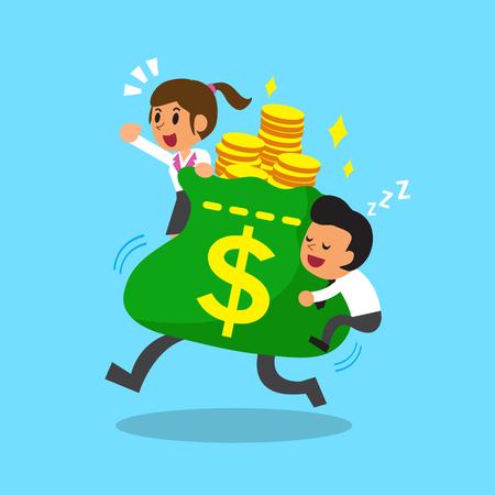 business team: Cartoon business team with big money bag