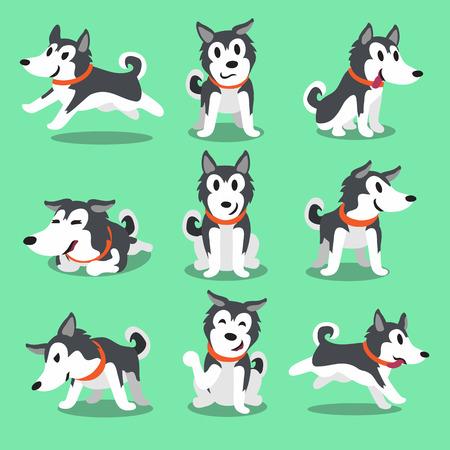 perro caricatura: Personaje de dibujos animados husky siberiano poses para perros Vectores