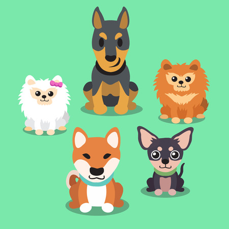 chihuahua puppy: Cartoon dogs standing collection Illustration