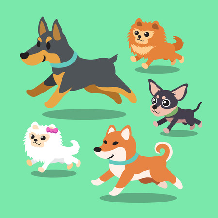 dog group: Cartoon dogs running collection Illustration