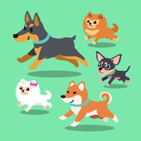 Cartoon dogs running collection Illustration