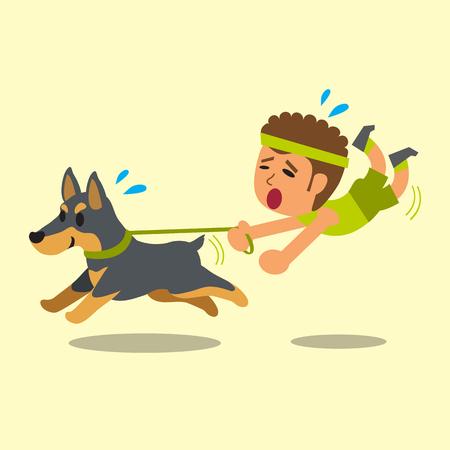 doberman: Cartoon man pulled by his doberman dog Illustration