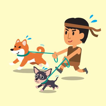 Cartoon ein Mann läuft mit seinen Hunden Standard-Bild - 47427293