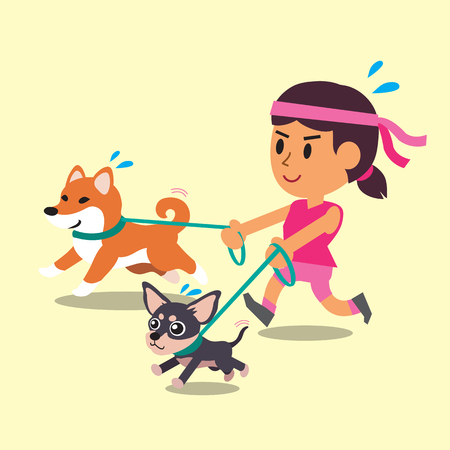 cartoon chihuahua: Cartoon a woman running with her dogs