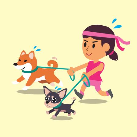 Cartoon una mujer corriendo con sus perros