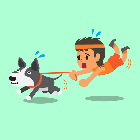 bull cartoon: Cartoon woman pulled by her bull terrier dog Illustration