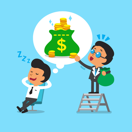 financial success: Cartoon businessman dream about money Illustration