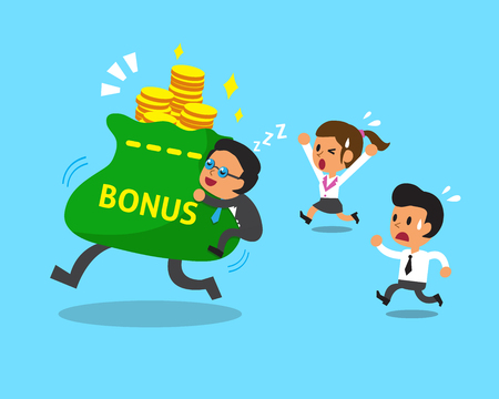cartoon money: Cartoon business team and big bonus bag Illustration