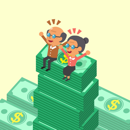 old people smiling: Cartoon old man and old woman sitting on money stacks