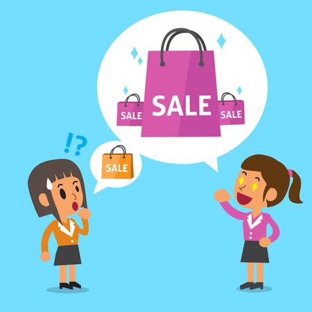 dibujos animados de mujeres: Cartoon women talking about shopping Vectores