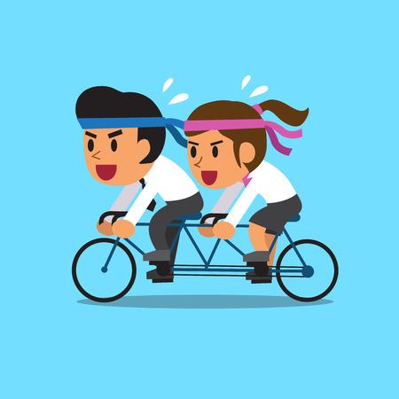 tandem bicycle: Cartoon business team ride tandem bicycle