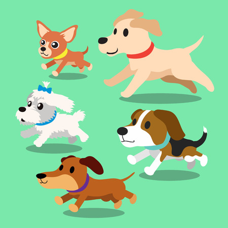 cane chihuahua: Cartoon cani in esecuzione Vettoriali