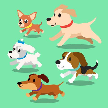 puppy cartoon: Cartoon dogs running Illustration