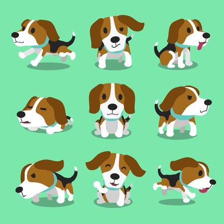chien: Cartoon caractère de chien beagle poses Illustration