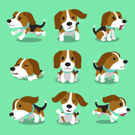 dog run: Cartoon character beagle dog poses