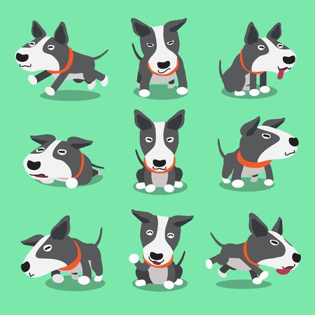 漫画文字・ ブル ・ テリア犬のポーズ  イラスト・ベクター素材
