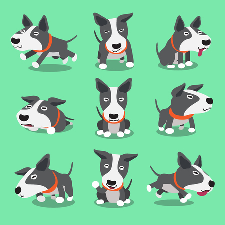 Cartoon character bull terrier dog poses Illustration