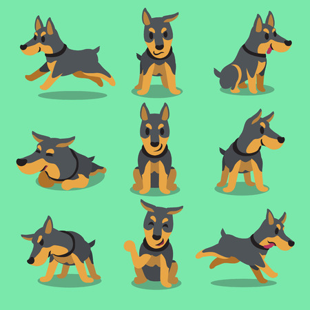 puppy isolated: Cartoon character doberman dog poses
