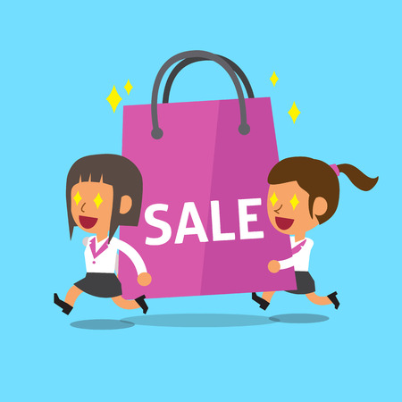 dibujos animados de mujeres: Cartoon women carrying big shopping bag