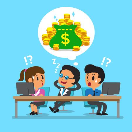 gente triste: Jefe de negocios de dibujos animados para dormir y so�ar con dinero