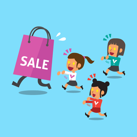 escape plan: Cartoon women and big shopping bag