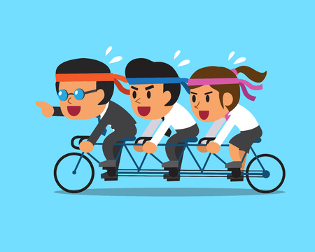 cute cartoon girl: Cartoon business boss and business team ride tandem bicycle Illustration