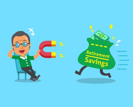 Cartoon oude man met behulp van een magneet trekt pensioensparen zak Stock Illustratie
