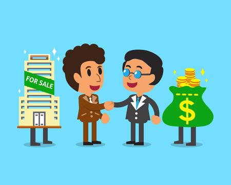 broker: Real estate broker agent shaking hands businessman Illustration