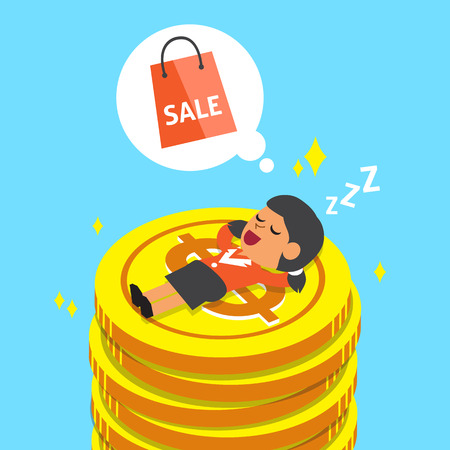 sleeping bags: Cartoon businesswoman falling asleep on money coins and dream about shopping Illustration