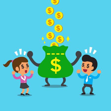 Cartoon businessman and businesswoman earning money