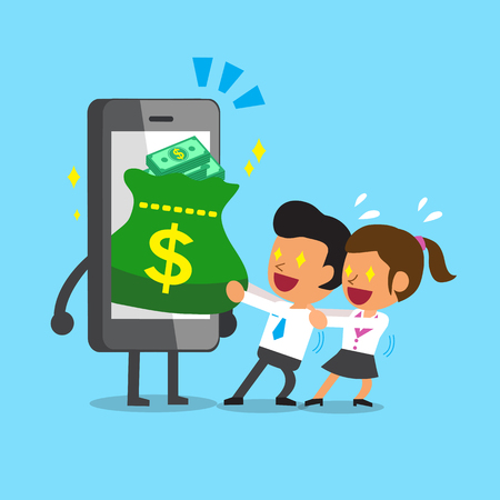 pulling money: Cartoon business team pulling money bag from smartphone Illustration