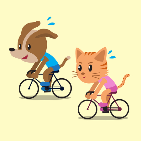 character cartoon: Cartoon a cat and a dog ride bikes