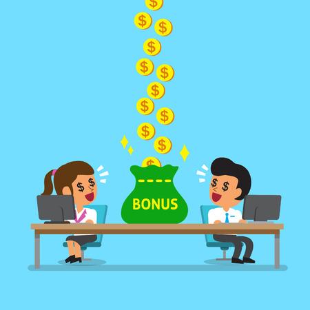Cartoon Business-Team zu verdienen Bonusgeld Standard-Bild - 47825822