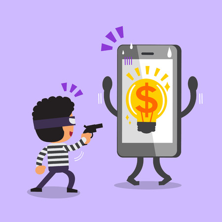 steal brain: Cartoon thief stealing money idea from smartphone Illustration