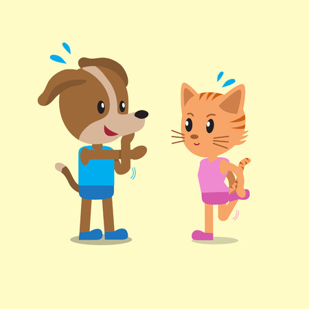 warm up: Cartoon a cat and a dog warm up