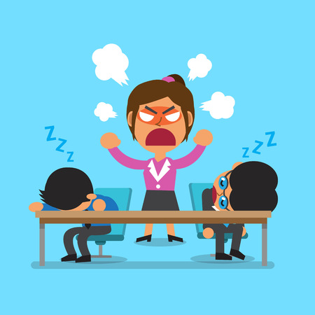 angry boss: Cartoon business team sleeping and angry businesswoman