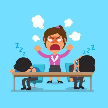 jefe enojado: Dormir equipo de negocios de dibujos animados y enojado empresaria