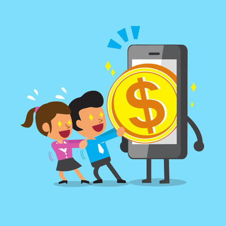 pulling money: Cartoon business team pulling money from smartphone