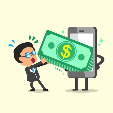to phone calls: Cartoon businessman pulling money stack from smartphone