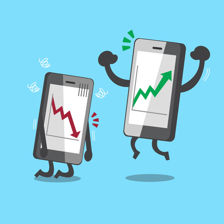 competition: Cartoon smartphones with stock market arrows Illustration