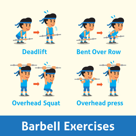 Cartoon set of a man doing barbell exercise step for health Illustration