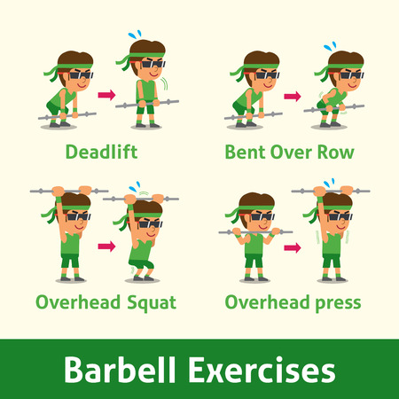 upright row: Cartoon set of man doing barbell exercise step for health