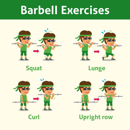 Cartoon set of man doing barbell exercise step for health and fitness Illustration