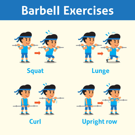 Cartoon set of a man doing barbell exercise step for health and fitness